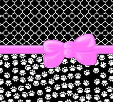 Ribbon, Bow, Dog Paws, Quatrefoil - White Black Pink by sitnica