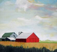 Country Farm Landscape rural Red Barn by LindaAppleArt