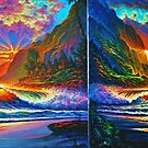 Napali Cliff's Sunset - Diptych by jyruff
