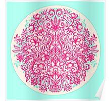 Spring Arrangement - floral doodle in pink & mint Poster