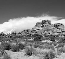 Arches Panorama 1 BW by marybedy