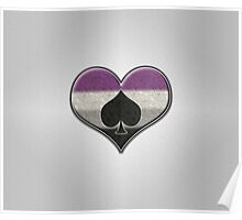 Asexual Pride Heart with Spade  Poster