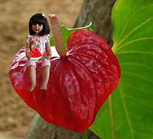 ANTHURIUM- HAWAIIN HEART FLOWER--LITTLE GIRL & WATERMELON A SUMMERS DELIGHT - PICTURE / CARD by ╰⊰✿ℒᵒᶹᵉ Bonita✿⊱╮ Lalonde✿⊱╮