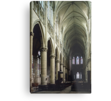 Pulpit and nave of Cathedral St Etienne Chalons sur Marne France 198405060043 Metal Print