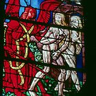 Adam and Eve banned from garden by angel C16 glass Cathedral St Etienne Chalons sur Marne France 198405060050 by Fred Mitchell