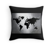 World Map Metal Throw Pillow