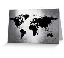 World Map Metal Greeting Card