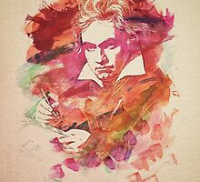 Ludwig van Beethoven Watercolor Remix  by badbugs