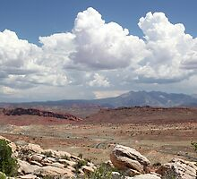 Salt Valley Overlook with La Sal Mountains by marybedy
