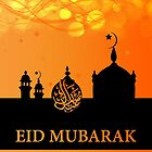 Eid Mubarak Orange Blends With Silhouette Mosque And Lights by Moonlake