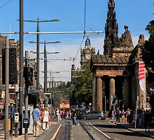 Looking along Princes Street, Edinburgh by Miles Gray