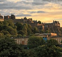 Beautiful Sunset over Edinburgh Castle by Miles Gray