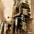 A digital painting of Sitting Bull,  a Hunkpapa Lakota holy man killed 1890 by Dennis Melling