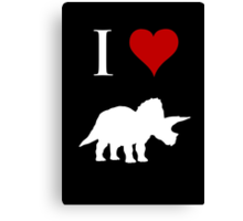I Love Dinosaurs - Triceratops (white design) Canvas Print