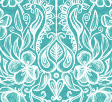 Spring Arrangement - teal & white floral doodle  Sticker
