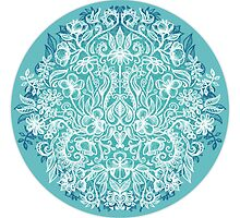 Spring Arrangement - teal & white floral doodle  by micklyn