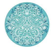 Spring Arrangement - teal & white floral doodle  Photographic Print