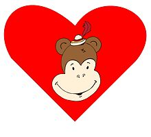 Happy Monkey Face Heart by kwg2200