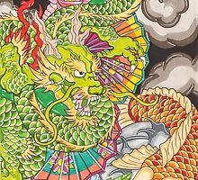 Koi dragon and koi fish by Thoricartist