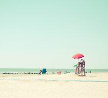 Red Beach Umbrella by Olivia Joy StClaire