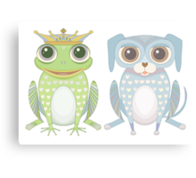 Prince Frog and Lanky Dog Canvas Print