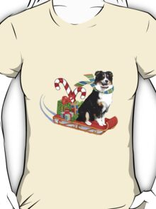 Black Tri Aussie on a Sled T-Shirt