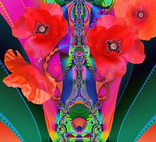 Fractal Fantasy Vase with Red Poppies by walstraasart