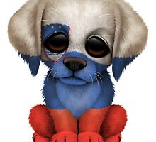 Cute Patriotic Slovenian Flag Puppy Dog by Jeff Bartels