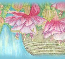 Fuschia Basket Misted Watercolor  by Linda Allan