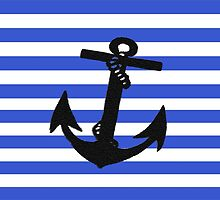 Black Anchor on Blue Stripes  by ckeenart