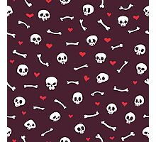 Cartoon Skulls with Hearts on Maroon Background Seamless Pattern Photographic Print