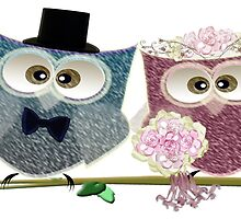 Cute Bride and Groom Wedding Owls Art by ckeenart
