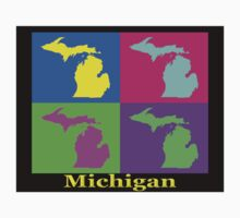Colorful Michigan State Pop Art Map Kids Clothes