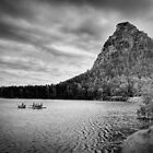 Paddle Boating in Kazakhstan in Black and White by Kadwell