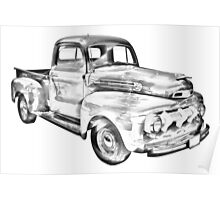 1951 Ford F-1 Pickup Truck Illustration  Poster
