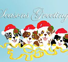 4 Cute Puppies Seasons Greetings by Barbara Applegate