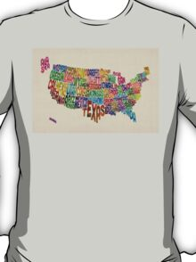 United States Typography Text Map T-Shirt