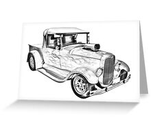 Model A Ford Pickup Hot Rod Illustration Greeting Card