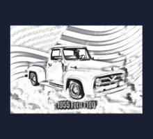 1955 F100 Ford Pickup Truck and Flag Illustration Kids Clothes
