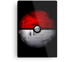 Brushed Pokeball - Kanto Map Metal Print