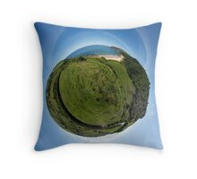 Kinnagoe Bay (as a floating green planet) Throw Pillow