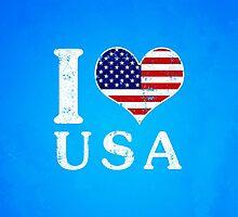 I LOVE USA (white) by crouchingpixel