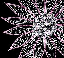 Black White Pink Flower Art by GroovyGal