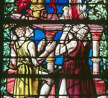 Cain and Abel sacrifice to God C16 Glass Cathedral St Etienne Chalons Sur Marne France 198405060052 by Fred Mitchell