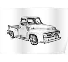 1955 F100 Ford Pickup Truck Illustration Poster