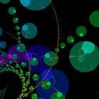 Dance of the Spheres II - Cosmic Violet & Teal by Diane Clancy