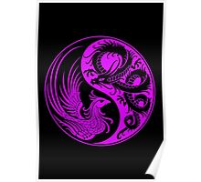 Purple and Black Dragon Phoenix Yin Yang Poster