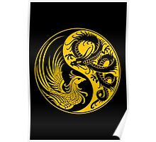 Yellow and Black Dragon Phoenix Yin Yang Poster