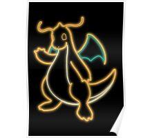 Neon Dragonite Poster