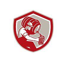 Bartender Carrying Barrel Pour Pitcher Retro by patrimonio